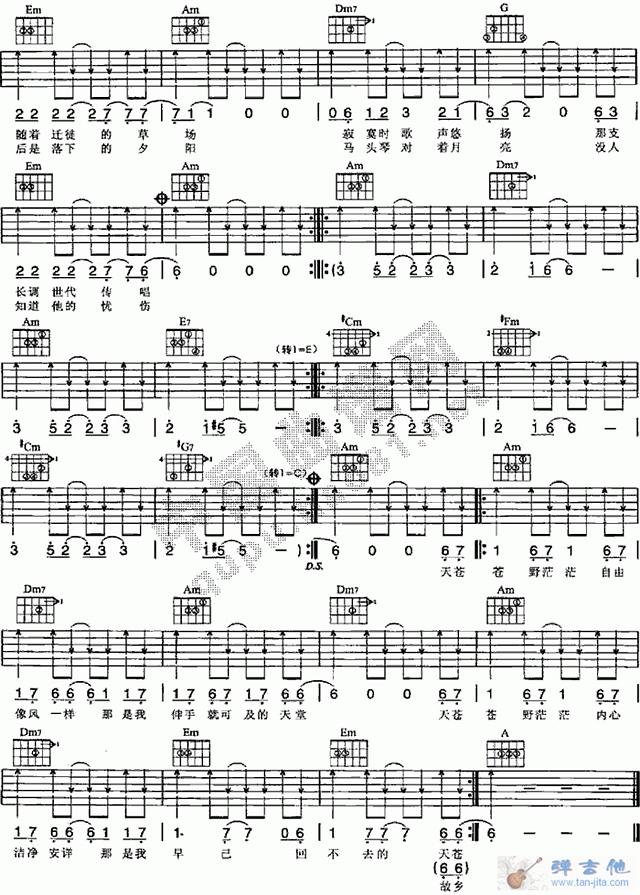 空白吉他六线谱作曲谱-杨坤 牧马人 吉他谱