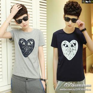 男士发型搭配-和讯财经微博-大爱心眼睛韩版圆领短袖