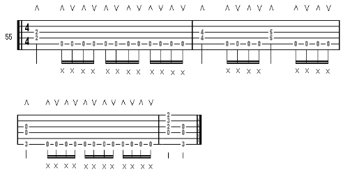 音符/练习五十五的十六分音符用右手掌奏闷音。